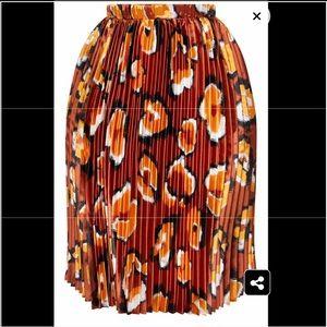 plus rust leopard print midi skirt